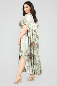 Like It Or Not Tie Dye Maxi Dress - Olive