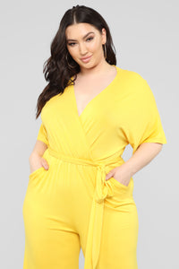 Knot Even Thinking About You Jumpsuit - Yellow