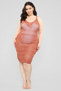 Walk On The Beach Midi Dress - Marsala Angle 6
