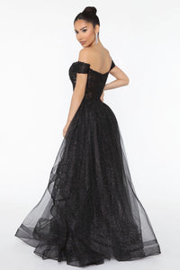 Visionary Beauty Embellished Maxi Gown - Black/Black Angle 3