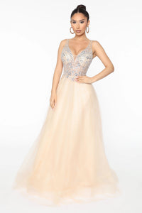 Like Royalty Embellished Maxi Gown - Nude Angle 1