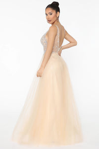 Like Royalty Embellished Maxi Gown - Nude Angle 3
