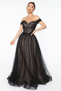 Real Life Fairytale Beaded Maxi Gown - Black Angle 1