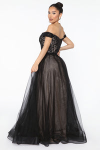 Real Life Fairytale Beaded Maxi Gown - Black Angle 3