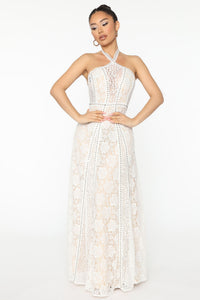 Elegant Love Lace Maxi Dress - White Angle 1