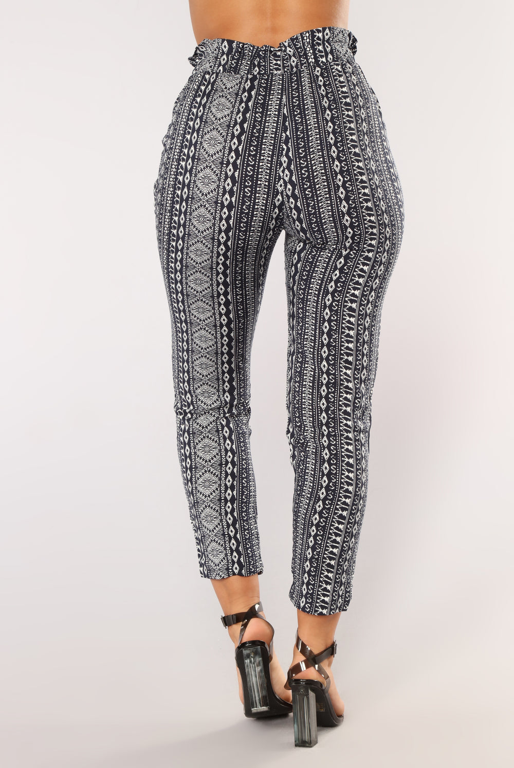 Randi Print Pants - Navy/White
