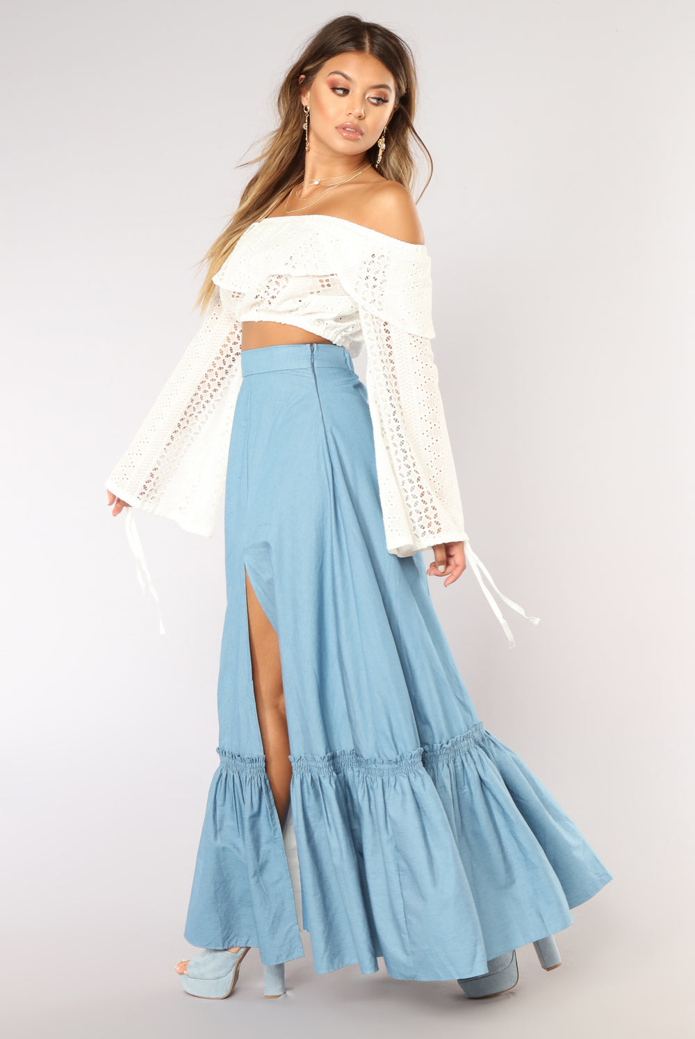 Chill Vibes Ruffle Skirt - Light Denim