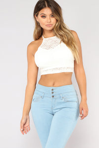 Maui Lace Halter Top - Ivory