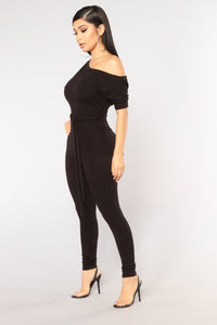 Lounge Around Jumpsuit - Black