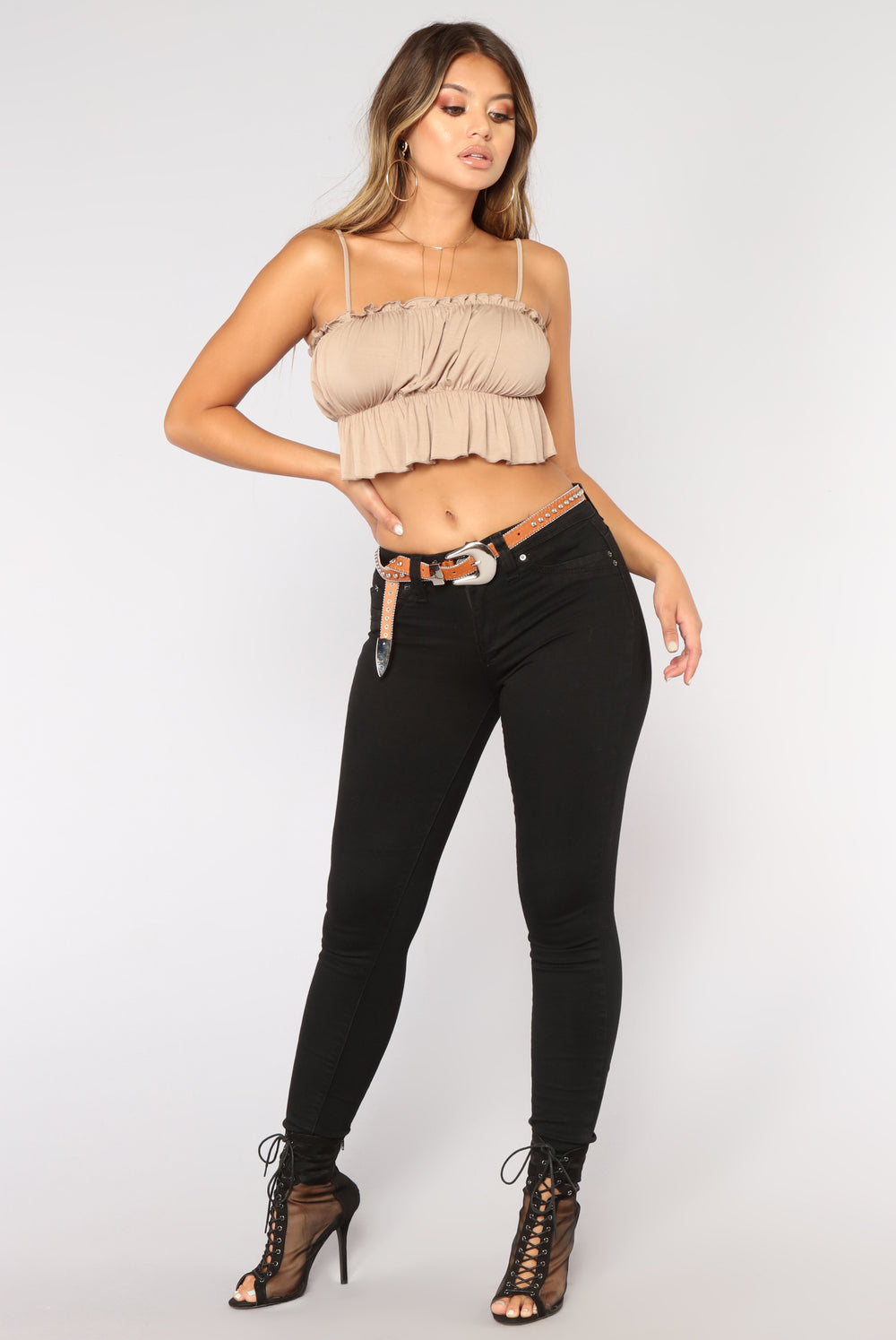 Here For The Ruffles Top - Mocha