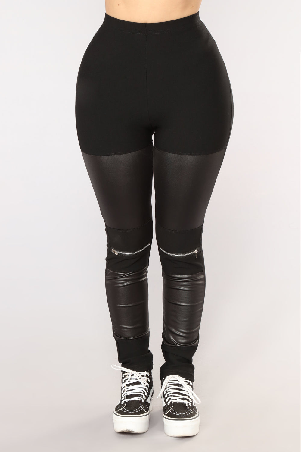 Keira Moto Zip Leggings - Black