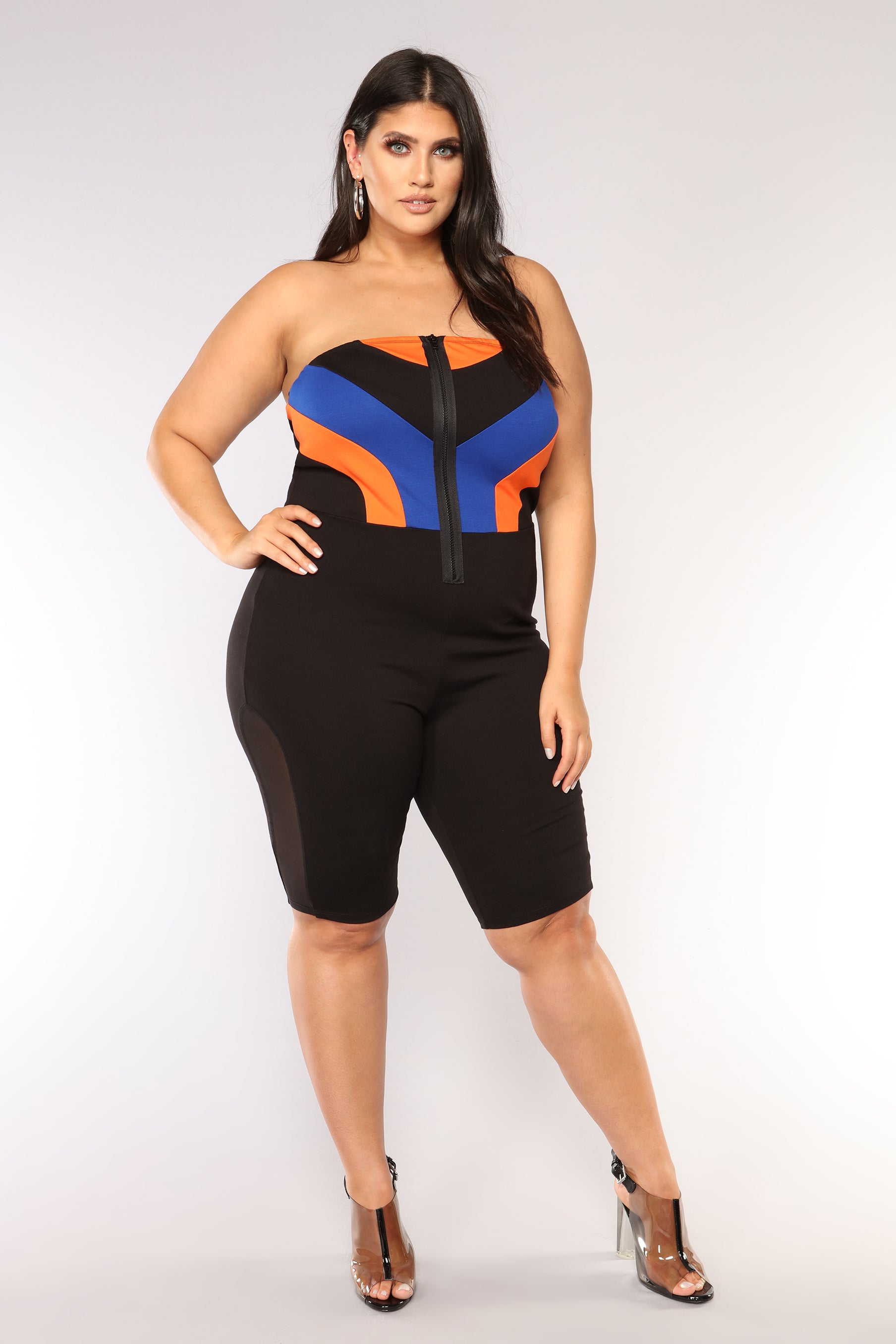 3ae521eb7dfe Aerodynamic Colorblock Romper - Black Royal. plus-size