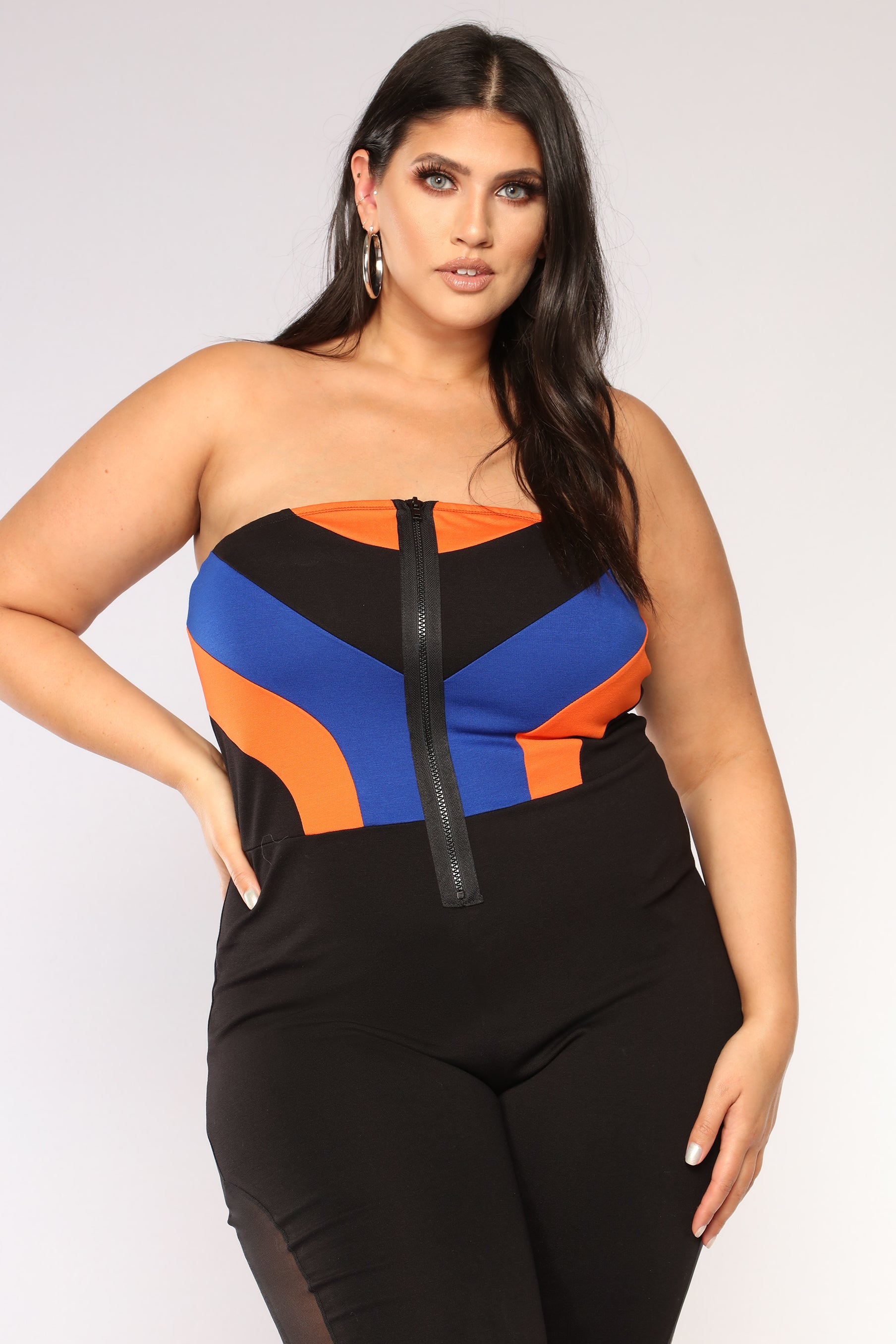 b3bff47d95ab Aerodynamic Colorblock Romper - Black Royal. plus-size. plus-size