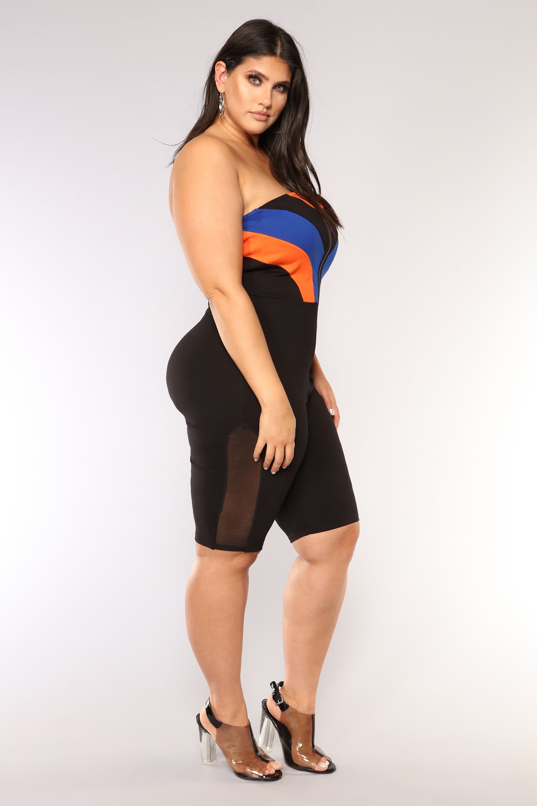 86b6a6e057a1 Aerodynamic Colorblock Romper - Black Royal. plus-size. plus-size. plus-size