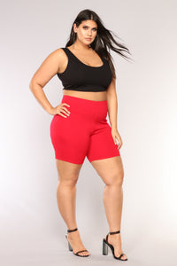 Classic Mini Biker Shorts - Red Angle 9