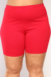 Classic Mini Biker Shorts - Red Angle 8