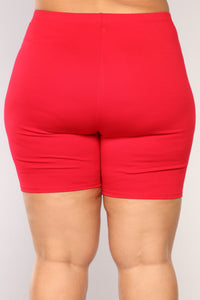 Classic Mini Biker Shorts - Red Angle 12