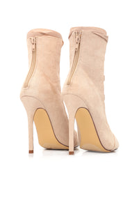 Drag Me Down Lace Up Bootie - Nude