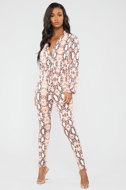b8fb0274d7a Don t Hiss At Me Snake Jumpsuit - Pink combo