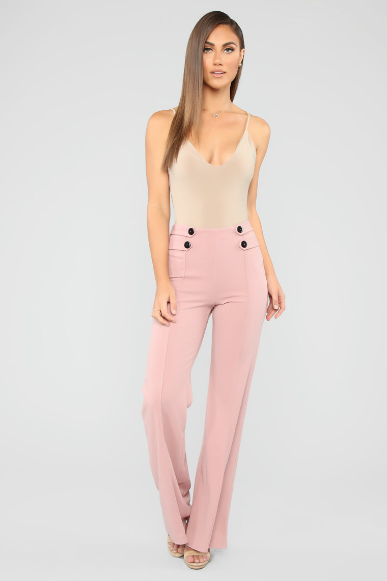 Finesse Goddess High Rise Flare Pants - Mauve