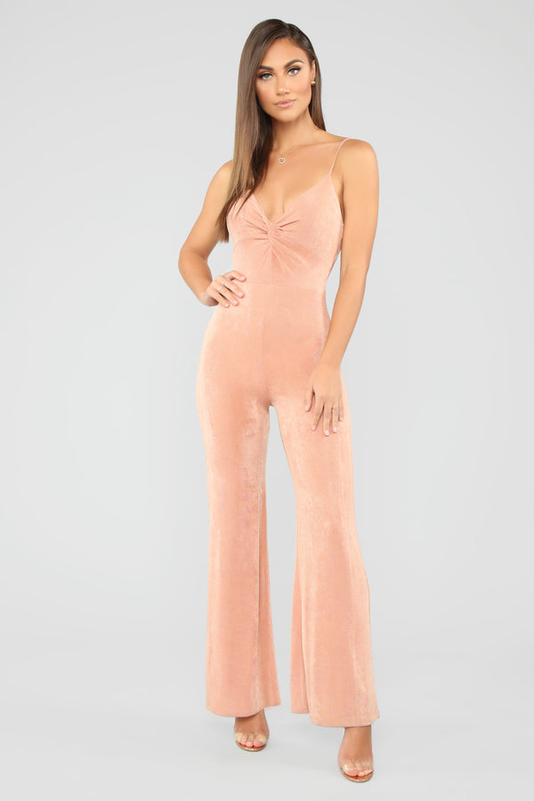 56dceb9b7a7a I Like It Twisted Jumpsuit - Rose Gold