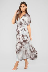Girl In The Mirror Tie Dye Maxi Dress - Charcoal