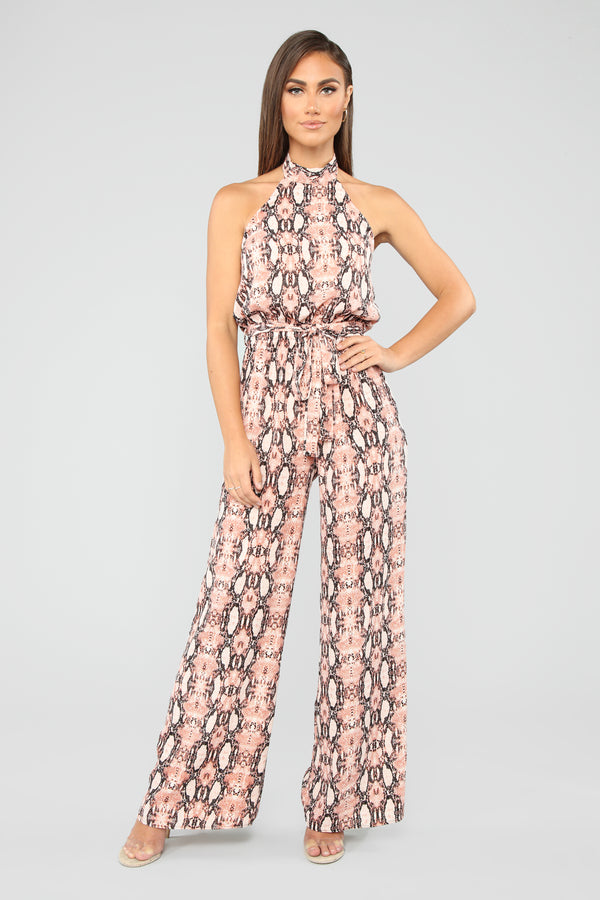 8354406dd9b Wrapped In Your Lies Snakeskin Jumpsuit - Peach