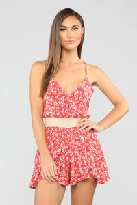 Blossoming Beauty Floral Romper - Red Angle 1