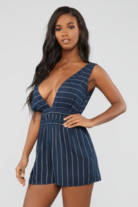 Caught In Your Love Striped Romper - Navy/White Angle 1