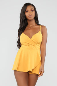 Been Real About It Romper - Mustard Angle 1