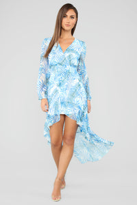 Ocean Breeze Tropical Maxi Dress - Blue