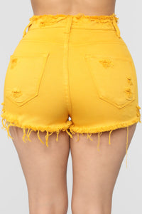 Heaven Only Knows Distressed Shorts - Mustard