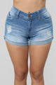 Love Me Or Leave Me High Rise Shorts - Medium Blue Wash