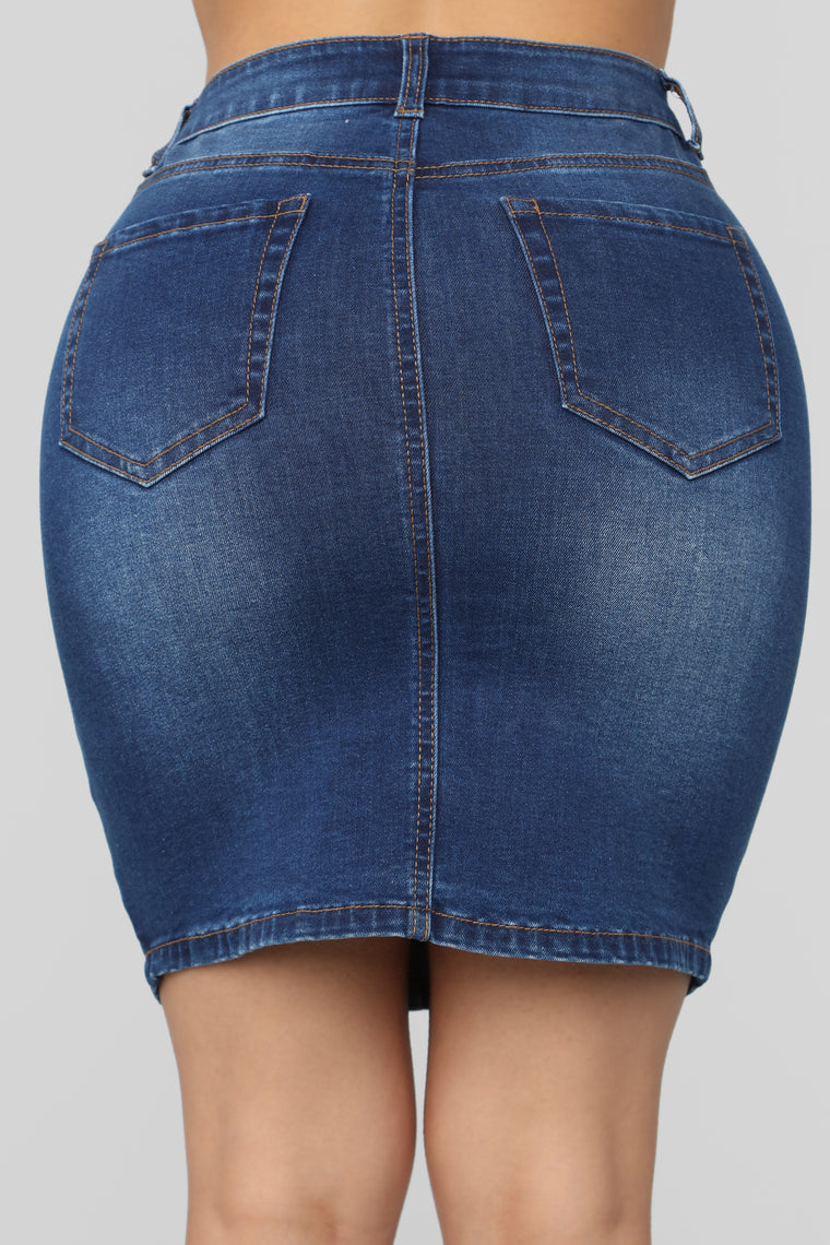 Love My Way Denim Skirt - Dark Wash