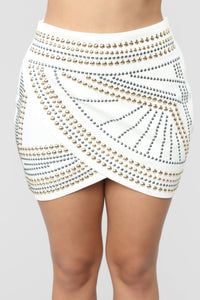 Studded Princess Mini Skirt - White