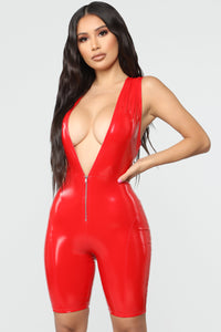 On With Your Bad Self Latex Biker Romper - Red