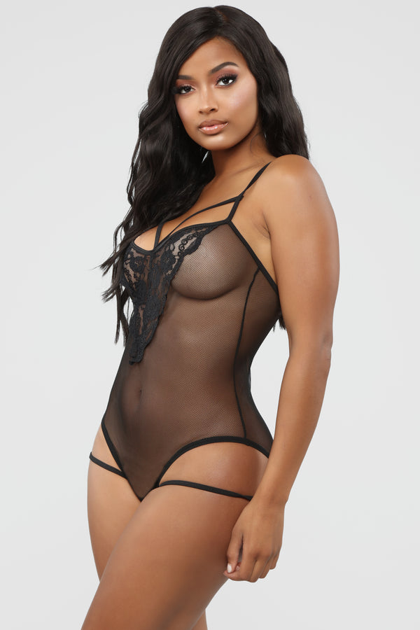 00d2683d05b French Lover Lace Teddy Bodysuit - Black