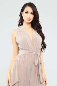 Queen Of All Harem Jumpsuit - Taupe