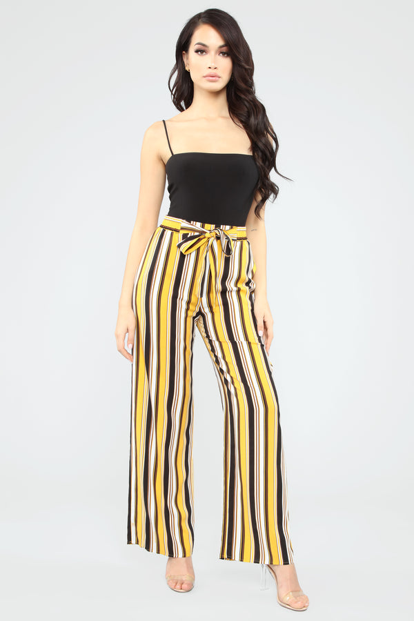 57b53611f Spring Is In The Air Striped Tie Waist Pants - Black Combo