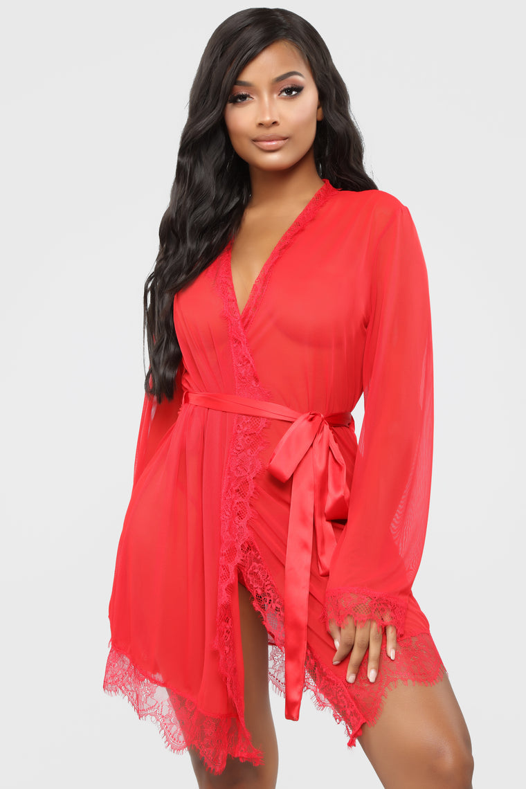 Boo Me Up Then Lace Robe - Red