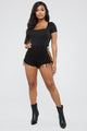 Living It Up High Rise Denim Shorts - Black/combo