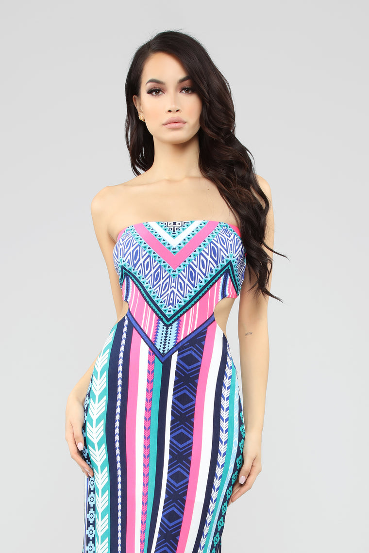 West Bay Maxi Dress - White/Pink