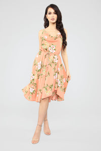 Love In Bloom Cowl Neck Midi Dress - Peach/Combo