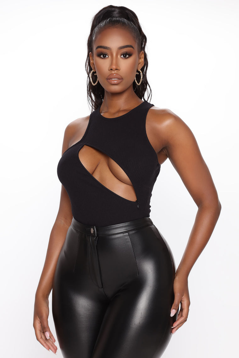 A Nice Little Peek High Neck Bodysuit - Black