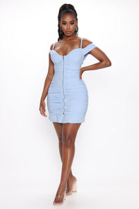 Let Me Surprise You Ruched Mini Dress - Blue Angle 1