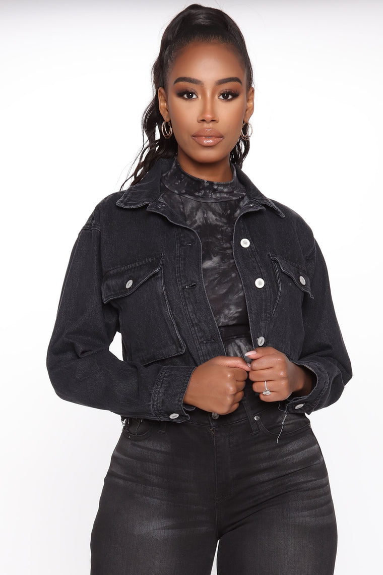 Edgy Denim Jacket - Black Wash