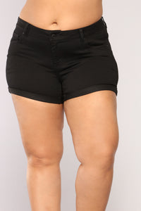 Let's Go Denim Shorts - Black