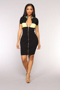 Blockin' Your Ex Dress - Black/Yellow