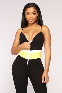 Speed Bump Colorblock Jumpsuit - Black/Yellow