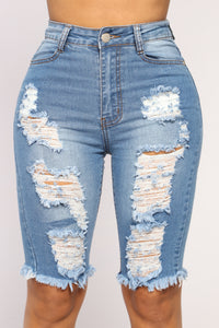 Lianna Distressed Bermuda Shorts - Light Wash